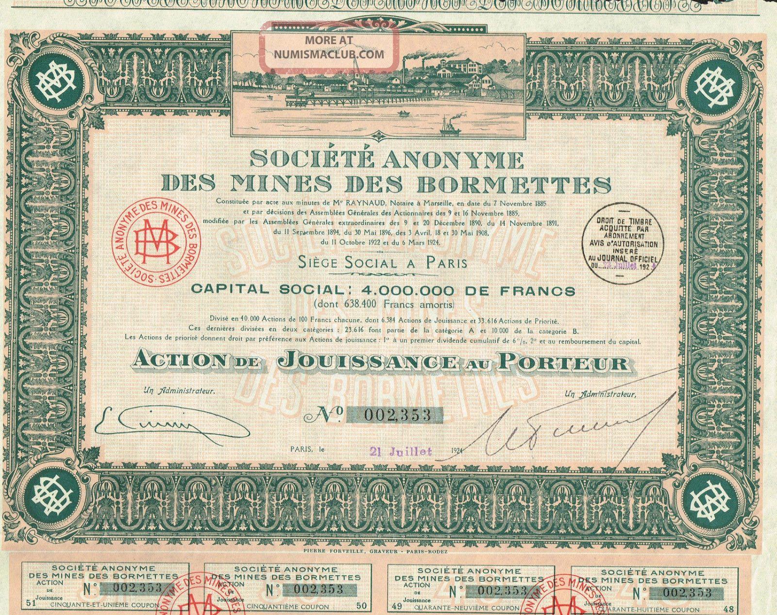 France Bormettes Mines Company Stock Certificate 1924 World photo