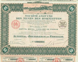France Bormettes Mines Company Stock Certificate 1924 photo