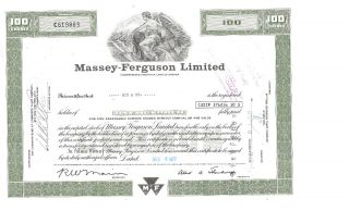 Vintage Stock Certificate Massey - Ferguson Limited - 1977 photo
