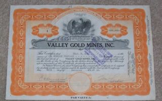 Valley Gold Mines Stock Certificate 1935 photo