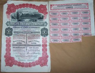 Bond 1912 Brazil Railway Company $100 Uncancelled 1 Share Deco Coupon Waterlow photo