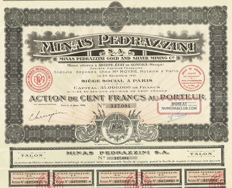 Mexico Pedrazzini Gold & Silver Mining Company Stock Certificate 1921 World photo
