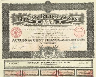Mexico Pedrazzini Gold & Silver Mining Company Stock Certificate 1921 photo
