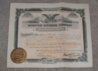 Webster Citizens Company Stock Certificate 1912 photo