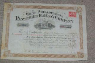 Western Philadelphia Railway Co Stock Certificate 1886 photo