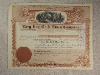 Antique 1916 Lazy Boy Gold Mines Company Stock Certificate Arizona San Francisco photo
