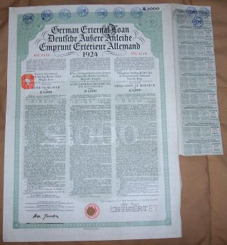 Germany Sterling Loan 1924 Bond 7% Uk Gb Issue £1000 Daves Coupons Seal photo