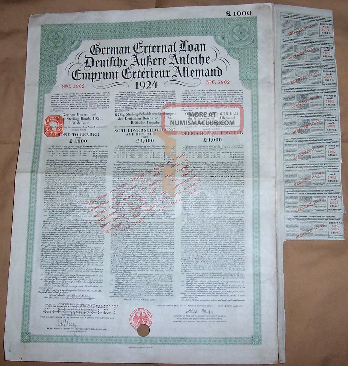 Germany Sterling Loan 1924 Bond 7% Uk Gb Issue £1000 Daves Coupons World photo