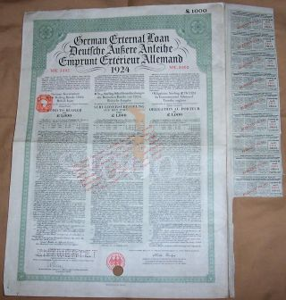 Germany Sterling Loan 1924 Bond 7% Uk Gb Issue £1000 Daves Coupons photo