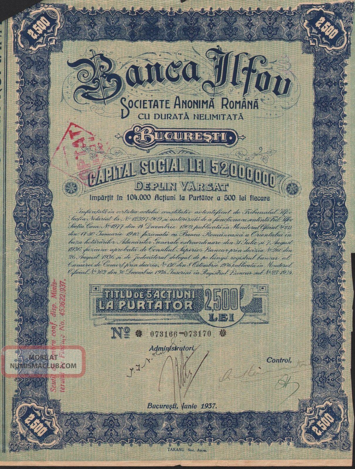 Romania Ilfov Bank Stock Certificate W/ 10 Coupons World photo