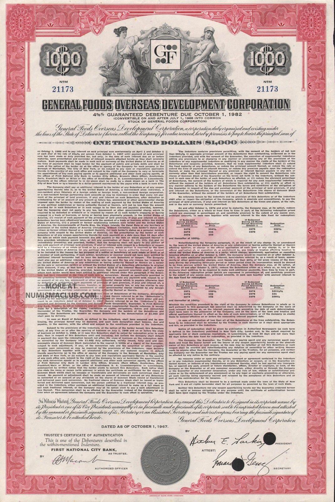 Usa General Foods Stock Certificate Overseas Development World photo