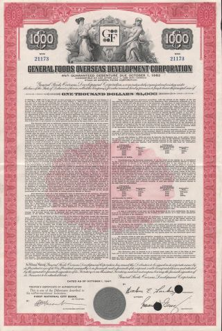Usa General Foods Stock Certificate Overseas Development photo