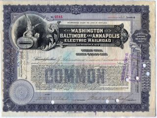 Washington Baltimore & Annapolis Electric Railroad Company Stock Certificate Rr photo