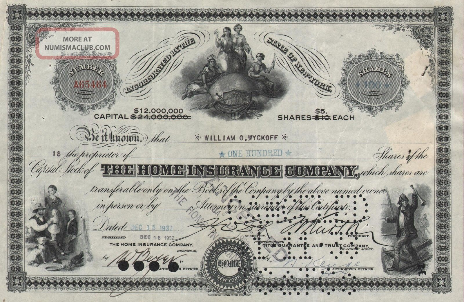 Usa The Home Insurance Company Stock Certificate York World photo