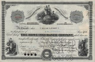 Usa The Home Insurance Company Stock Certificate York photo