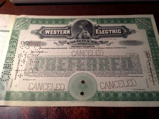Western Electric Company Specimen Preferred Stock Certificate,  Unissued C.  1920 photo