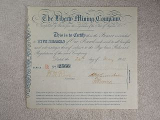 Antique 1852 The Liberty Mining Company Virginia Stock Certificate photo