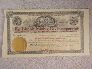 Antique 1906 Big Johnnie Mining Company Stock South Dakota Blank Certificate photo