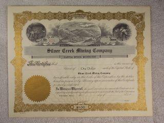 Antique Blank Silver Creek Mining Company Kingston,  Idaho Stock Certificate photo