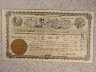 Antique 1908 Diamondfield Triangle Mining Company Nevada Stock Certificate photo
