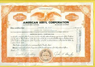 1957 American Beryl Corporation Stock Certificate Rare Unique photo