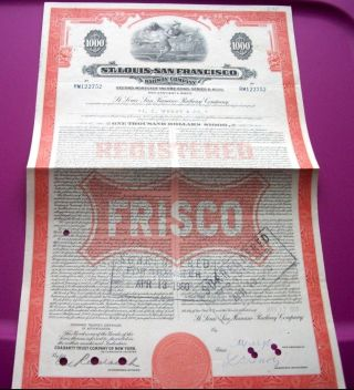 Vintage $1,  000 St.  Louis - San Francisco Frisco Railroad Bond Stocks Trains photo