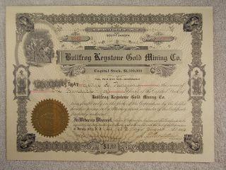 Antique 1906 Bullfrog Keystone Gold Mining Co.  South Dakota Stock Certificate photo