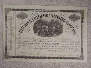 Antique 1878 Bertha & Edith Gold Mining Company Stock Certificate York photo
