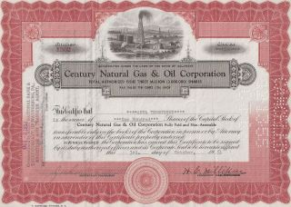 Century Natural Gas & Oil Corporation. . . . . .  1951 Stock Certificate photo