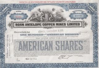 Roan Antelope Copper Mines Limited. . . .  1955 American Shares Certificate photo