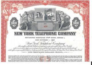 York Telephoe Company. . . . . .  Bond Due 1997 photo