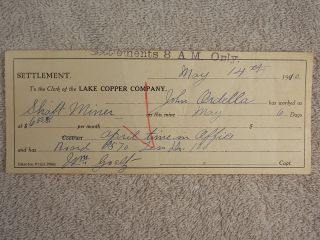 Antique 1910 Lake Copper Company Settlement Pay & Board Statement photo