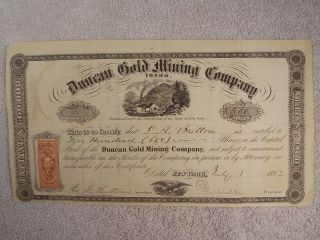 Antique 1867 Duncan Gold Mining Company Stock Certificate W/ 25¢ Revenue Stamp photo