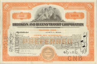 Brooklyn And Queens Transit 1938 York Stock Certificate Orange Share photo