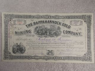 Antique 1884 Rappahannock Gold Mining Company Stock Certificate Virginia photo