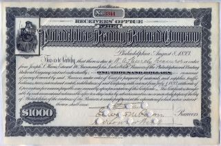 $1000 Philadelphia & Reading Railroad Company Stock Bond Certificate photo