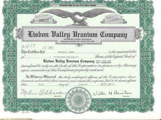 Lisbon Valley Uranium Company. . . . . .  1957 Stock Certificate photo