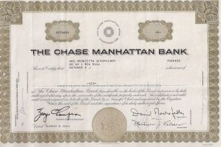 The Chase Manhattan Bank. . . . . . .  1964 Stock Certificate photo