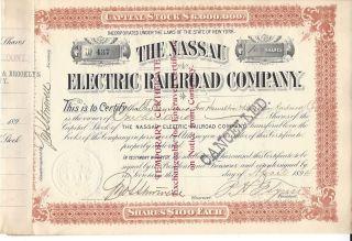 The Nassau Electric Railroad Company. . . . .  1894 Stock Certificate photo