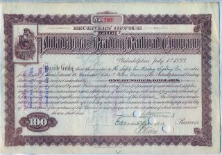 $100 Philadelphia & Reading Railroad Company Stock Bond Certificate photo