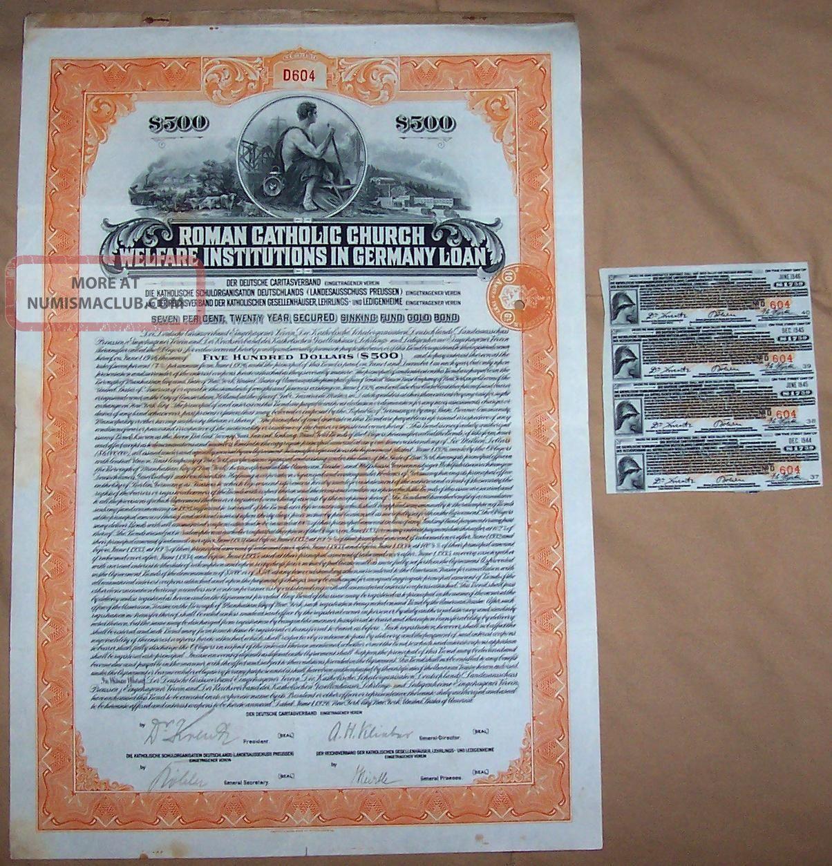 Roman Catholic Church Germany 7% Sinking Fund Gold Bond 1926 $500 Coup Scarce World photo