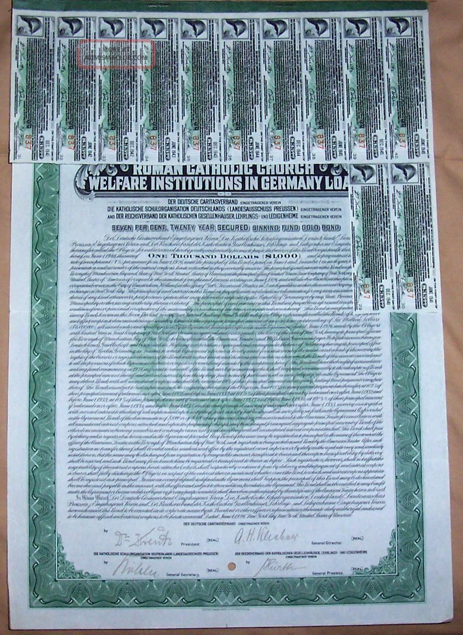 Roman Catholic Church Germany 7% Sinking Fund Gold Bond 1926 $1.  000 Coup Scarce World photo
