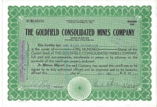 1960 Stock Certificate The Goldfield Mines Co.  100 Shares photo