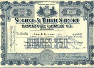 Second & Third Street Passenger Railway Co.  Of Philadelphia Stock Certificate Rr photo
