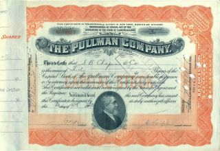 Pullman Company Stock Certificate Railroad photo