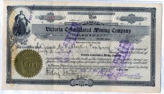 Victoria Consolidated Mining Company Stock Certificate Provo Utah photo