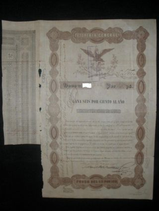 Mexico 1843 Black Eagle (general Tesoreria) Bond 1.  000 Pesos With Passco photo