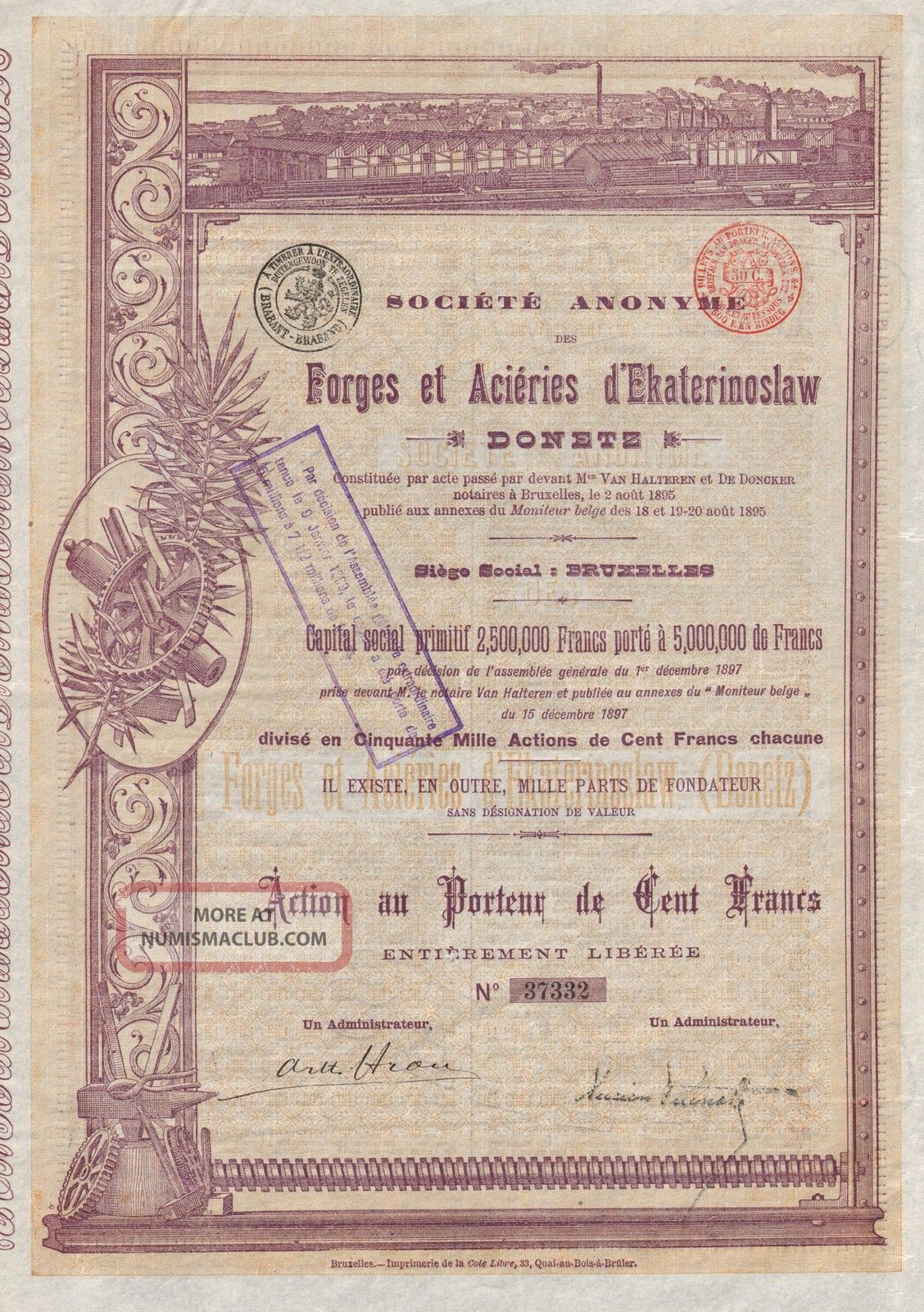 Russia Forged Steel Company Of Ekaterinoslaw Stock Certificate 1897 World photo