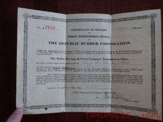 1921 Republic Rubber Corporation First Preferred Stock Certificate Deposit Ohio photo