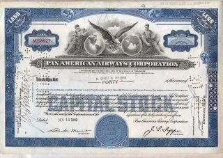 1949 Pan American Airways Corporation Stock Certificate Airline Older Style photo